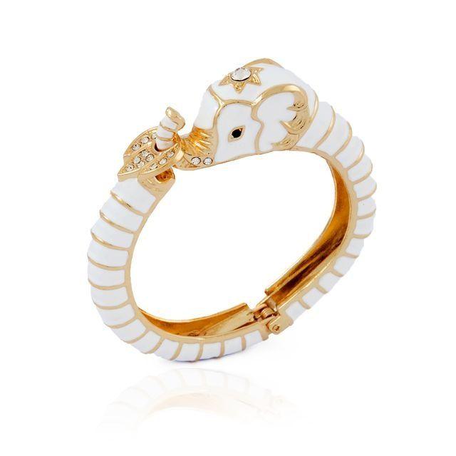 Oriental Elephant cuff in white