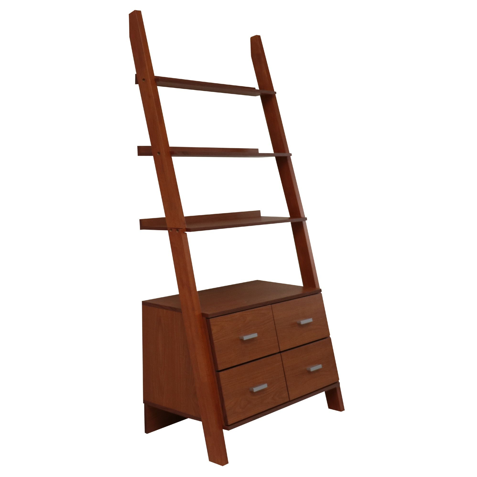 Oak brown finished leaning ladder bookshelf with drawers ladder