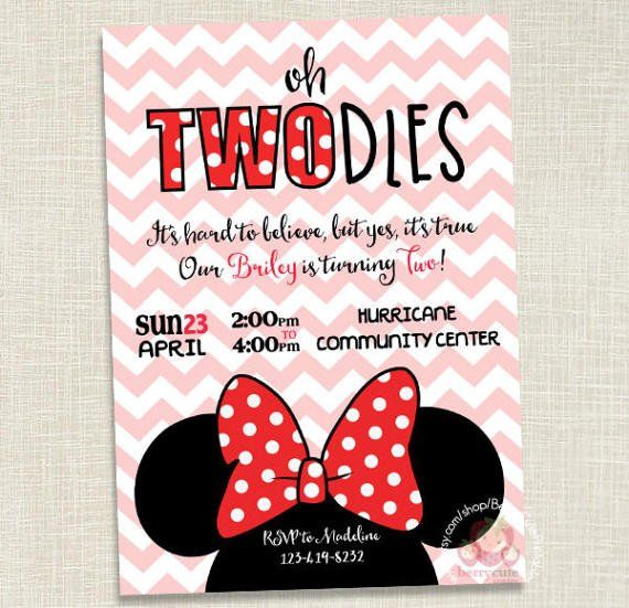 Minnie Mouse Birthday Invitation Two Year By BerryCutePrintables
