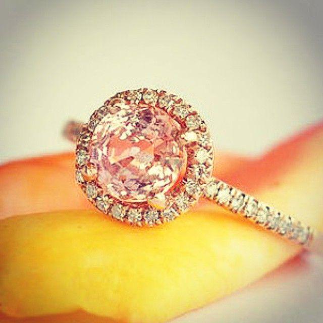 Allsapphires.com - peach sapphire rose gold ring