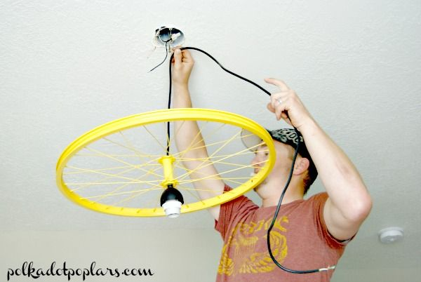 Bicycle Wheel Light Fixture Bicycle Wheel Diy Lamp Shade Bike Room