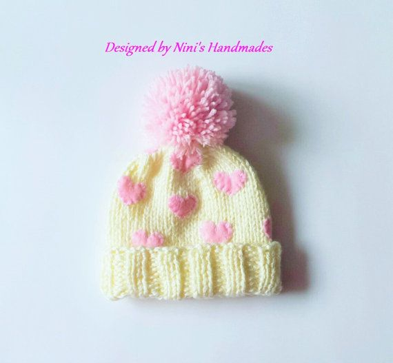 008a6264e27 Double Brim Thick Knit Off White Hat with Light by NinisHandmades  cute   girls  pompomhat  chunkyhat  pinkhearts  pompom  pinkhearts  creme   wholesale  etsy ...