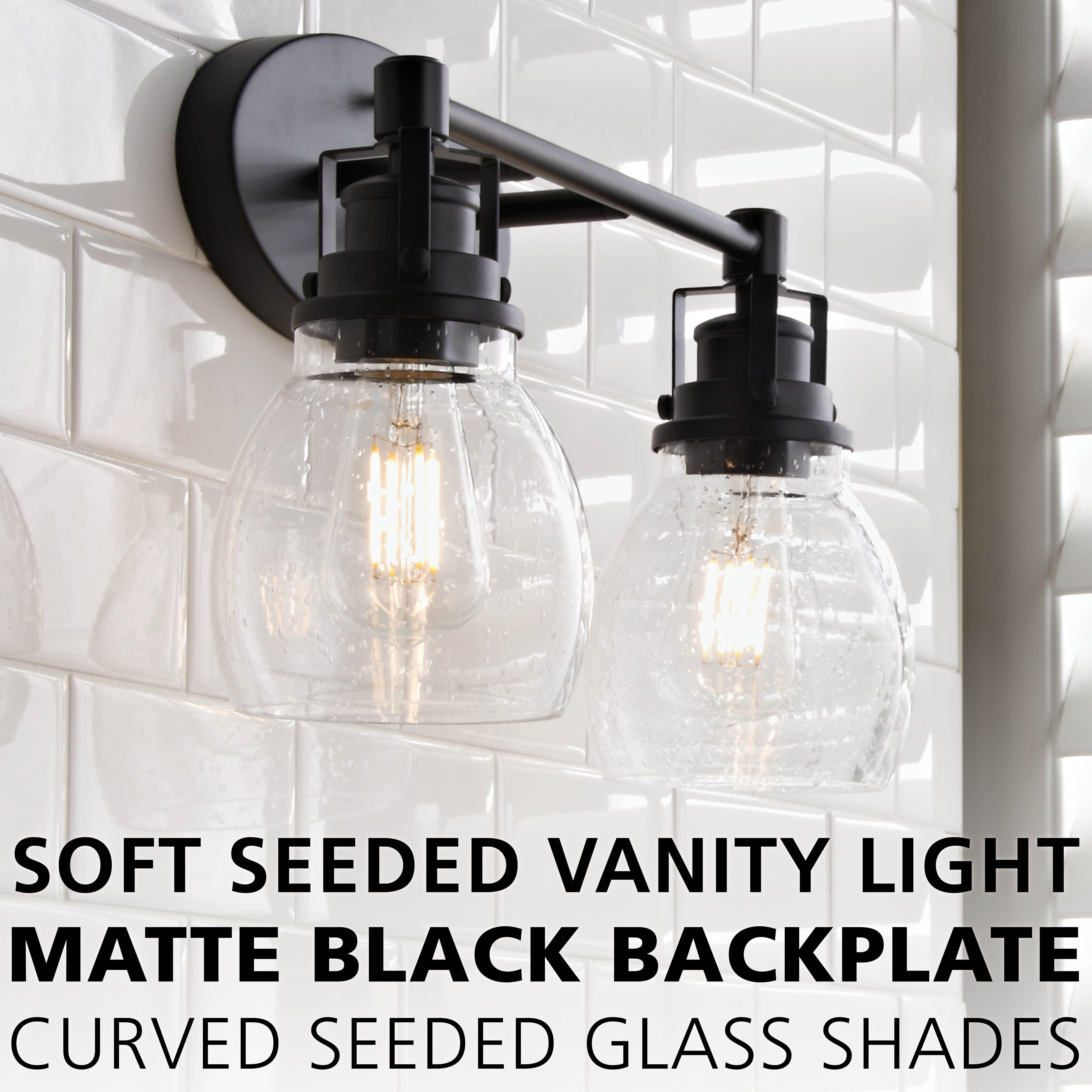Soft Seeded Vanity Light 2 Light Vanity Lighting Bathroom Light Fixtures Black Bathroom