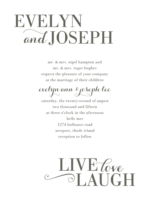 Laughing Letters Thermography Wedding Invitations In Th Charcoal Or Gold Jenny Romanski