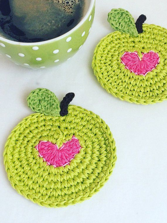 Green Apple Coasters with Pink Heart - Best Gift f