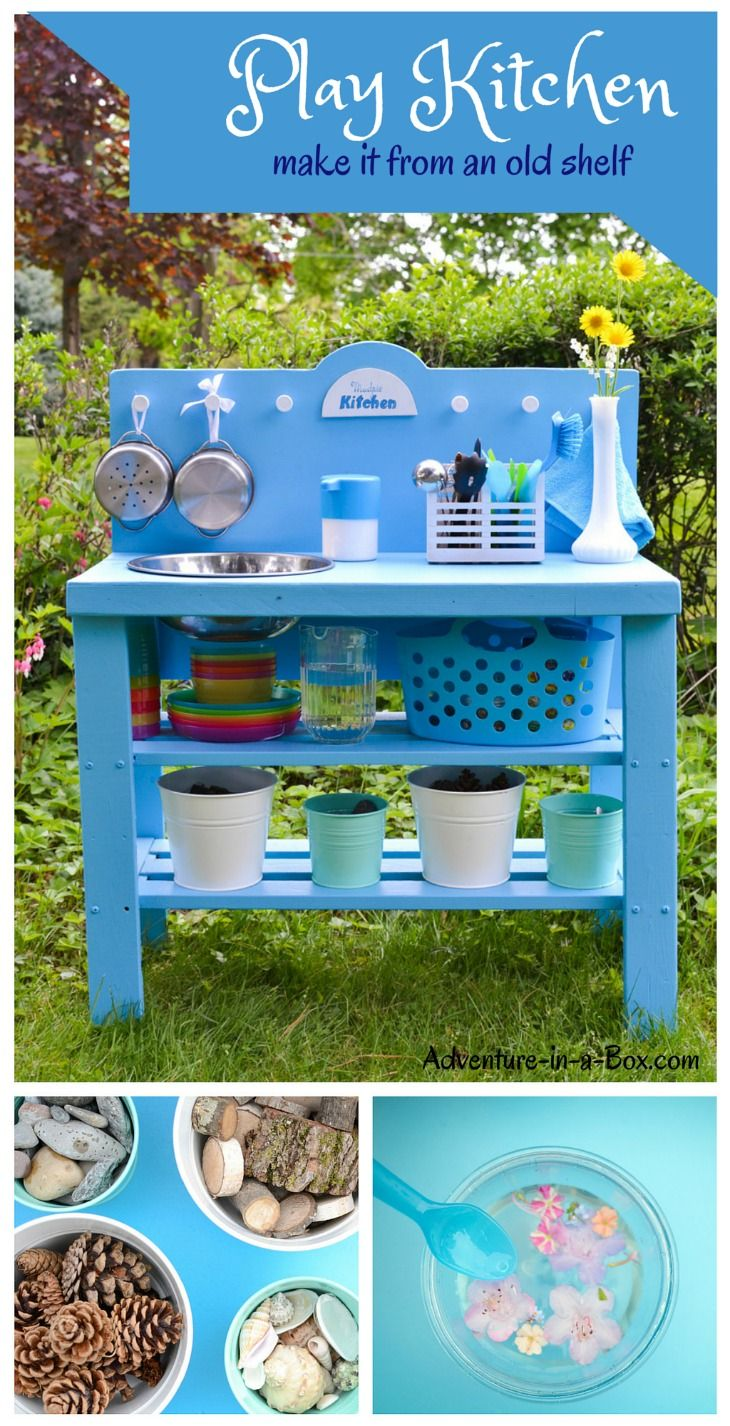 DIY Outdoor Play Kitchen from a Shelf | Outdoor play kitchen ...