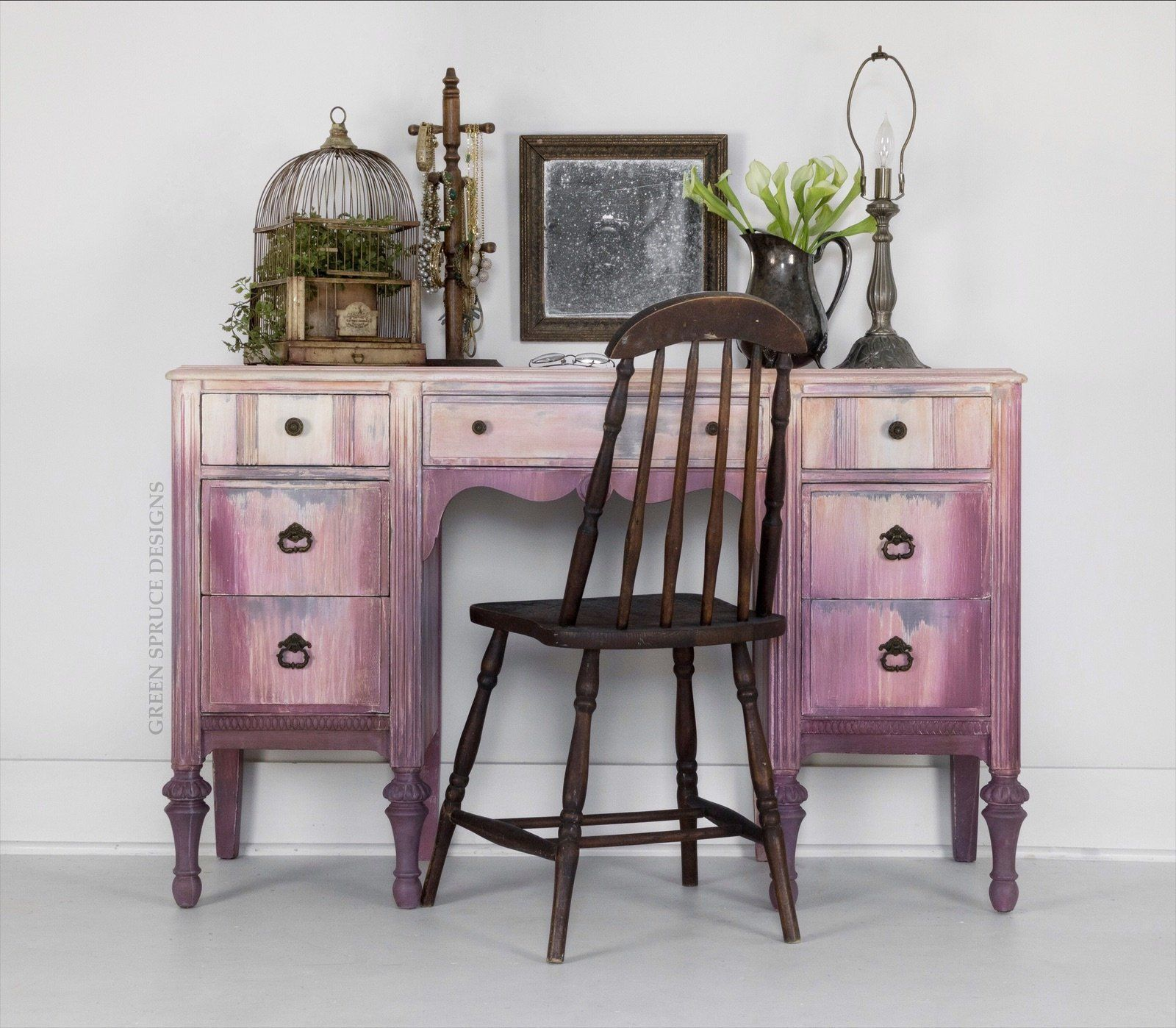 Girl/'s hand painted refinished hot pink Bohemian chic office desk or makeup vanity SOLD
