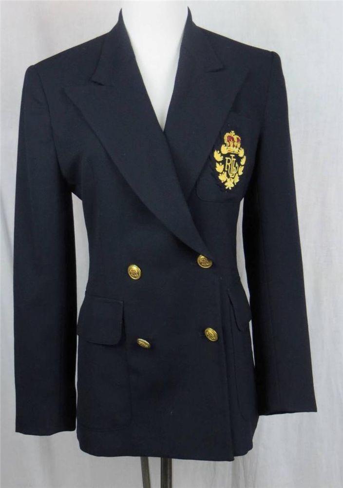 Lauren Ralph Lauren Women Navy Blue Blazer Boyfriend Crest Size 4P Petite #LaurenbyRalphLauren #Blazer