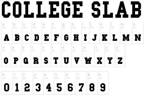 free slab serif fonts-College