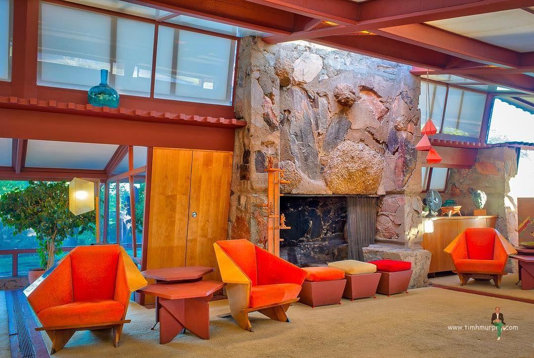 Garden Room Fireplace #taliesinwest #franklloydwrightfoundation #scottsdale #arizona