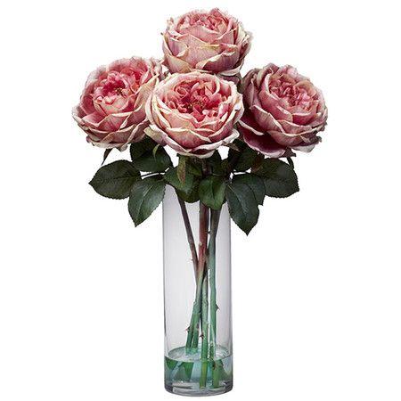 Silk pink rose arrangement in a clear vase. Product: Faux floral arrangement Cons… | Flower vase ...