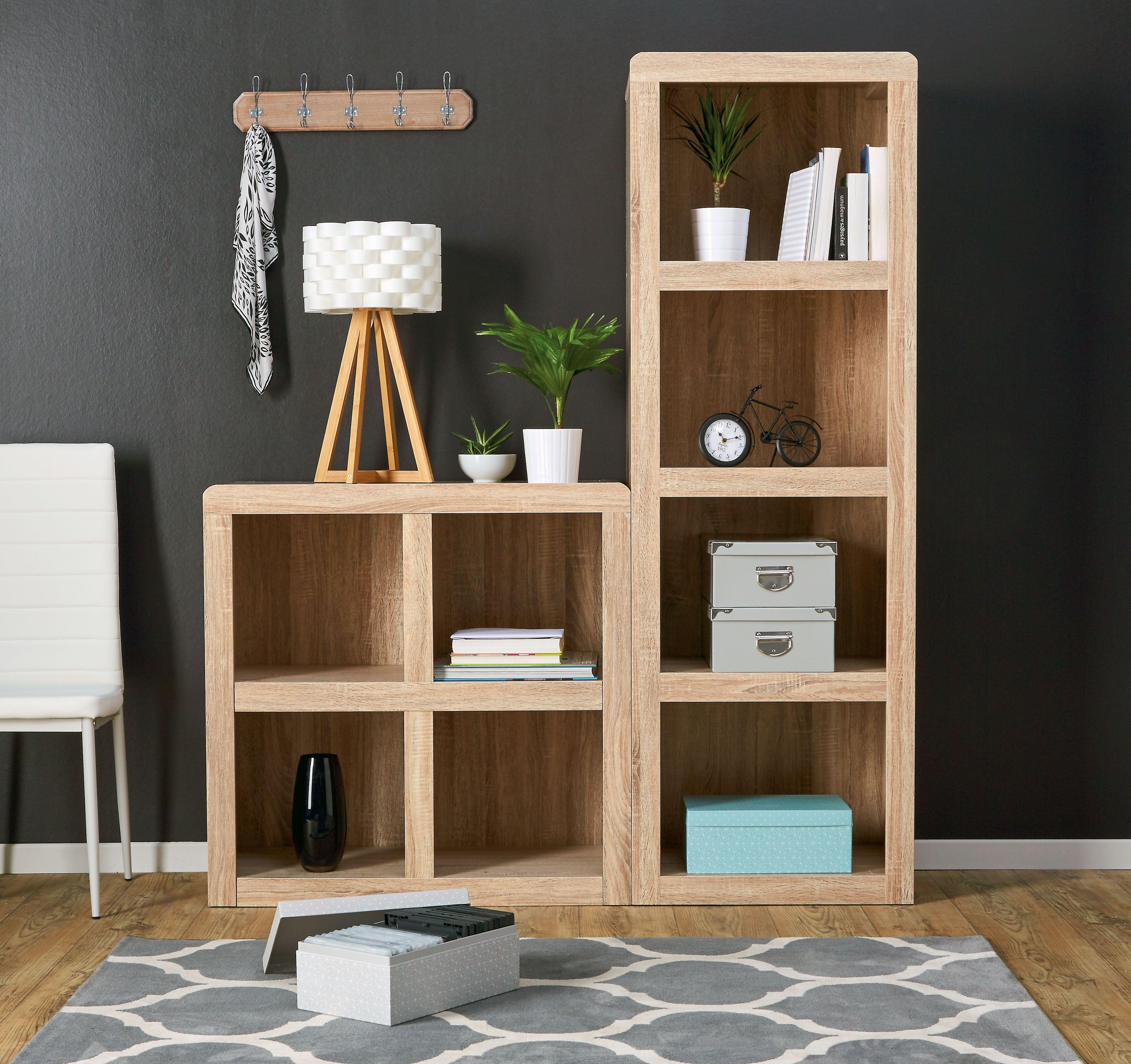 biblioth que colonne 4 niches en bois brut porte manteaux horloge poser v lo mes. Black Bedroom Furniture Sets. Home Design Ideas