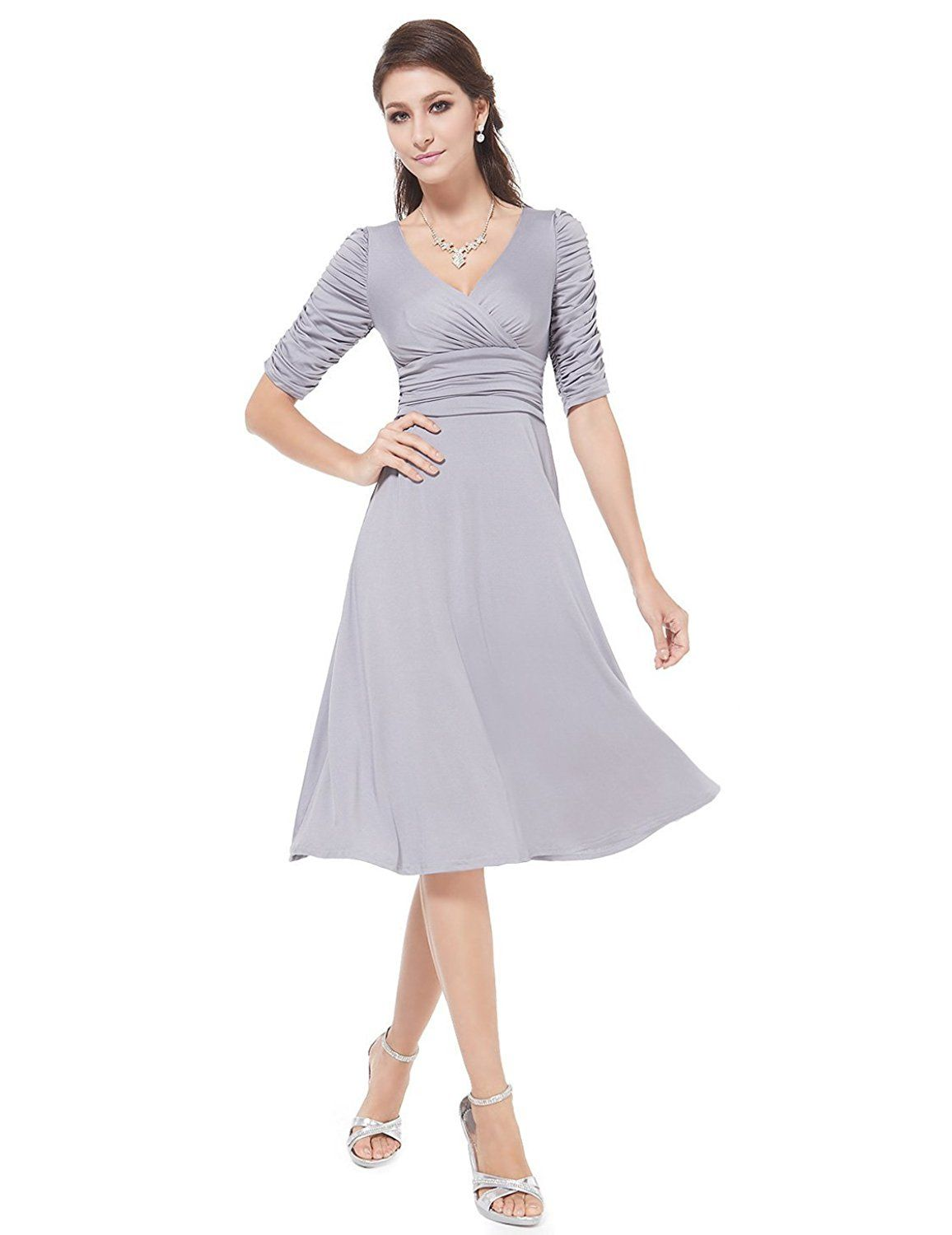 Ever pretty sleeve ruched waist classy vneck casual cocktail