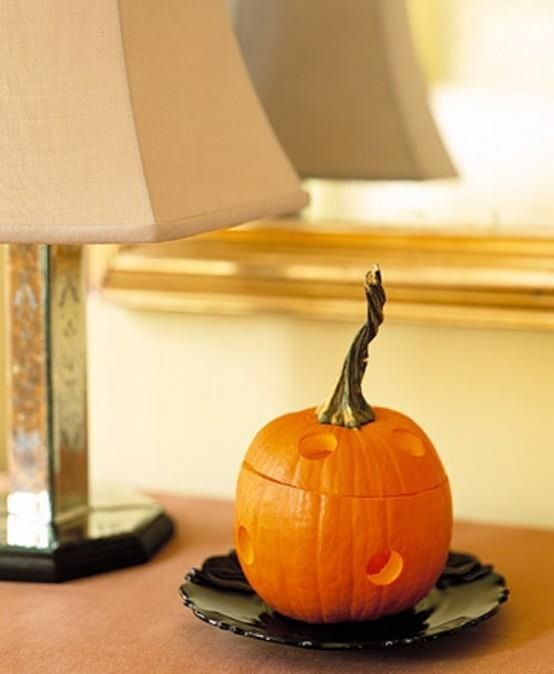 Burn incense cones inside pumpkin Good to know!!! Pinterest - halloween decorating ideas indoor