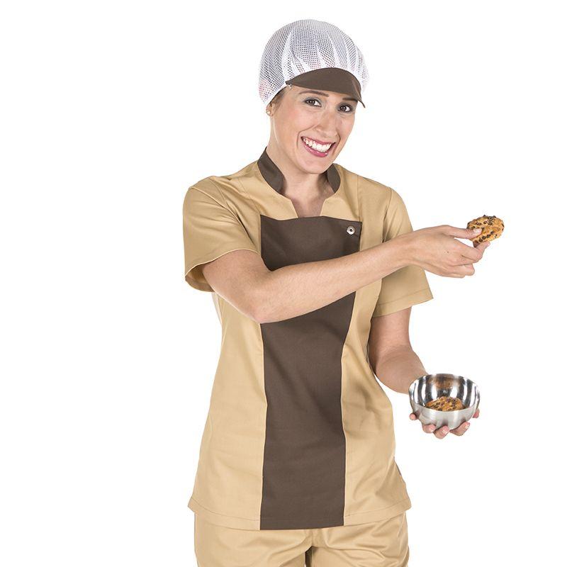 2d9458565e5 9465 chaqueta de cocina Soria para mujer, en manga corta, sin aberturas y  en color crema combinado con marrón. #uniformes #hornos #panadería  #pastelería