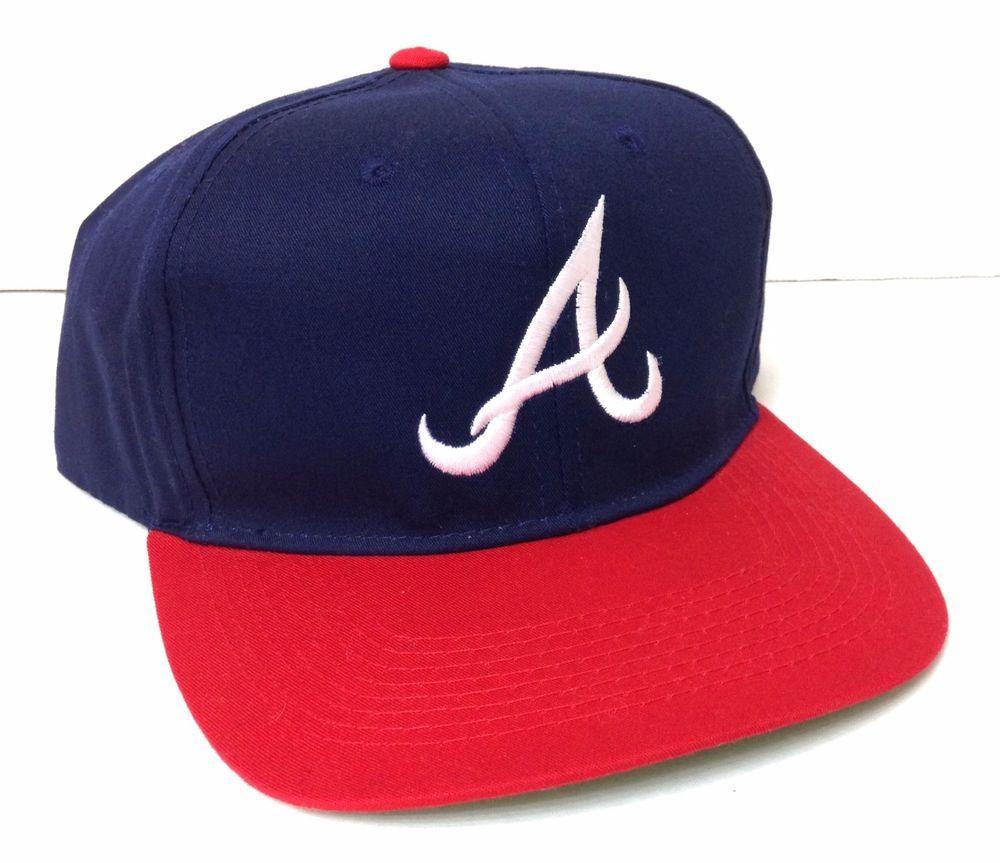Unworn Old Stock Vtg 90s Atlanta Braves Snapback Hat Navy Red White Men Women Grossman Atlantabraves Hats Vintage Atlanta Braves Hats