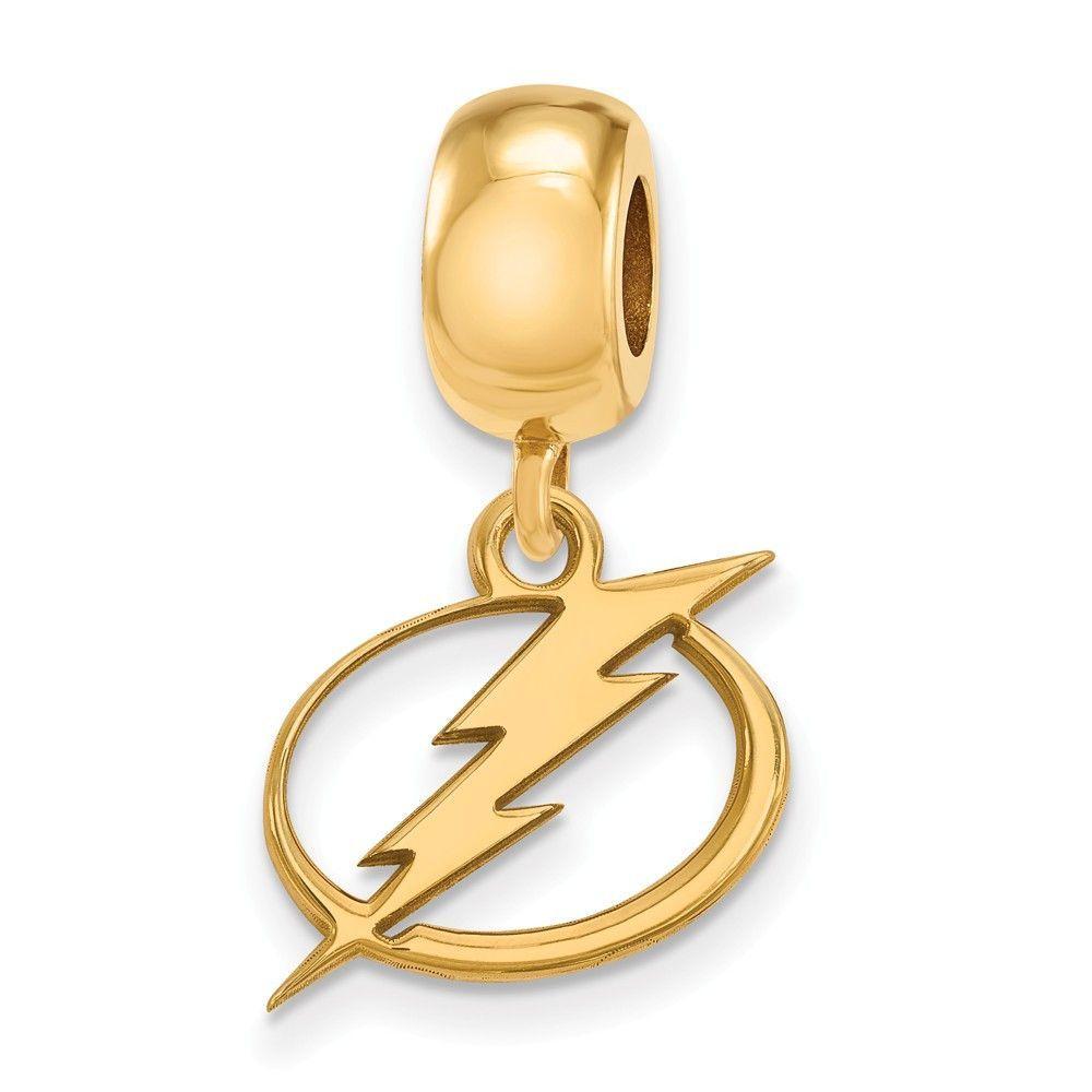 Sterling Silver w/GP NHL LogoArt Tampa Bay Lightning Small Dangle Bead