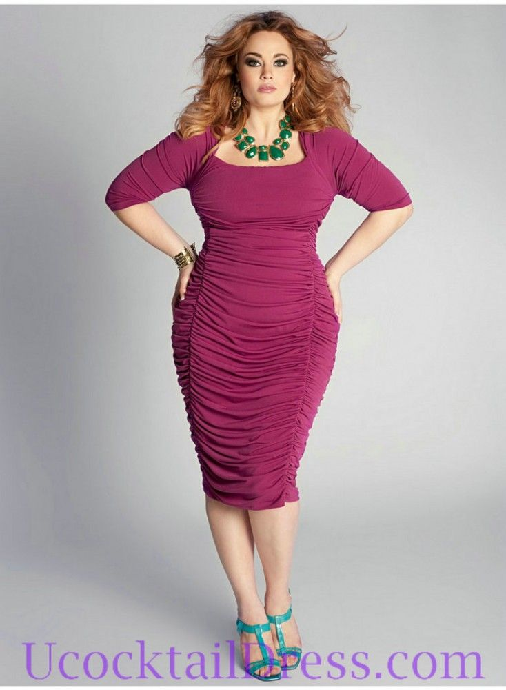 Plus Size Cocktail Dresses with Sleeves | ... Sleeves Ruched Fashion ...