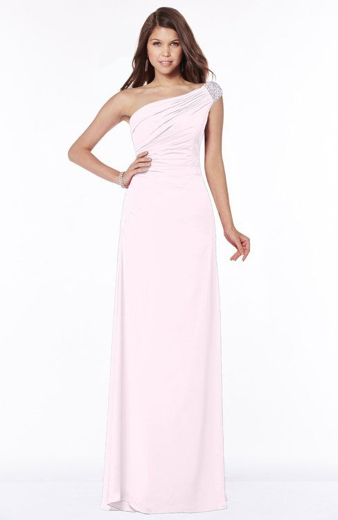 Blush Glamorous A-line Short Sleeve Zip up Chiffon Floor Length Bridesmaid Dresses