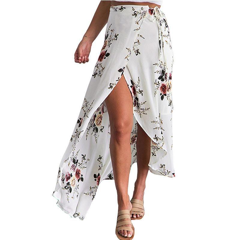 cbfd5e3553 2017 Vintage floral print long skirts women Summer elegant beach maxi skirt  Boho high waist asymmetrical skirt High Split Sexy