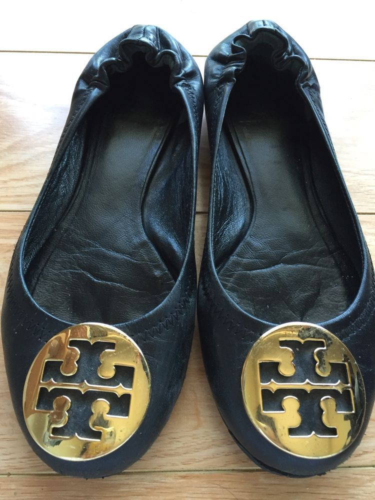 009a99c28f72 Tory Burch REVA Black Leather Ballet Flats Gold Emblem Size 6.5   fashion   clothing  shoes  accessories  womensshoes  flats (ebay link)
