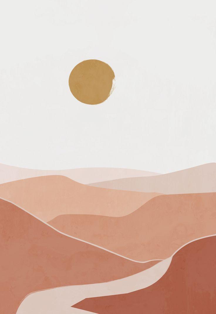 Modern boho landscape print nature poster boho poster | Etsy in 2020 | Boho poster, Geometric art pr