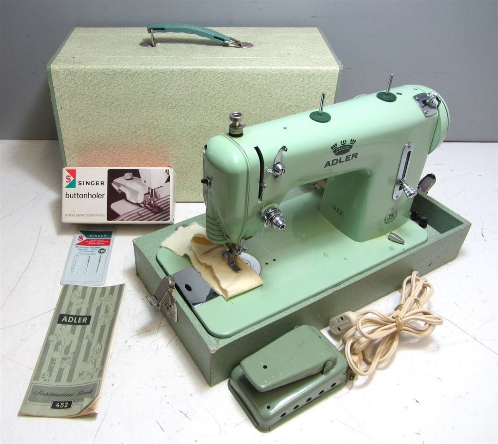 Vintage 1950s Adler Sewing Machine Model 452 w/ Carrying Case + Manual +  Extras #Adler