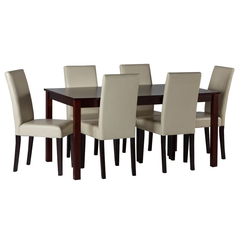 7 Pc Set Jet Dining Table 150x90cm And 6 Prince Dining Chairs Cream Only Web Image Dining Chairs Cream Dining Chairs Coffee Table