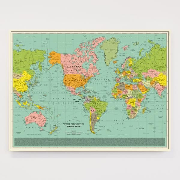 An imaginary world map where the continents countries cities an imaginary world map where the continents countries cities oceans rivers and landmarks are made up from the titles of over 1000 songs gumiabroncs Gallery