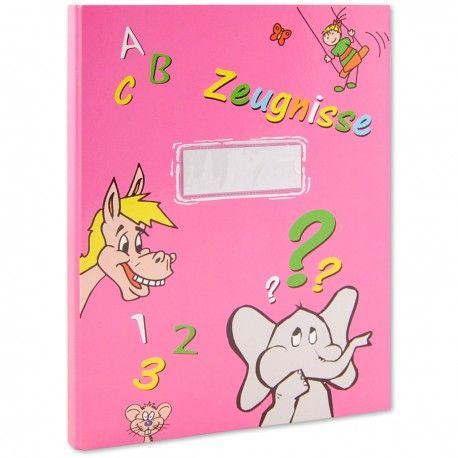 Zeugnismappe für Kinder, pink Sie ist aus stabilem Karton, hat 20 Klarsichthüllen fest eingebunden und auf dem Deckel ein Feld für Deinen Namen. Gibts auch in anderen Farben.