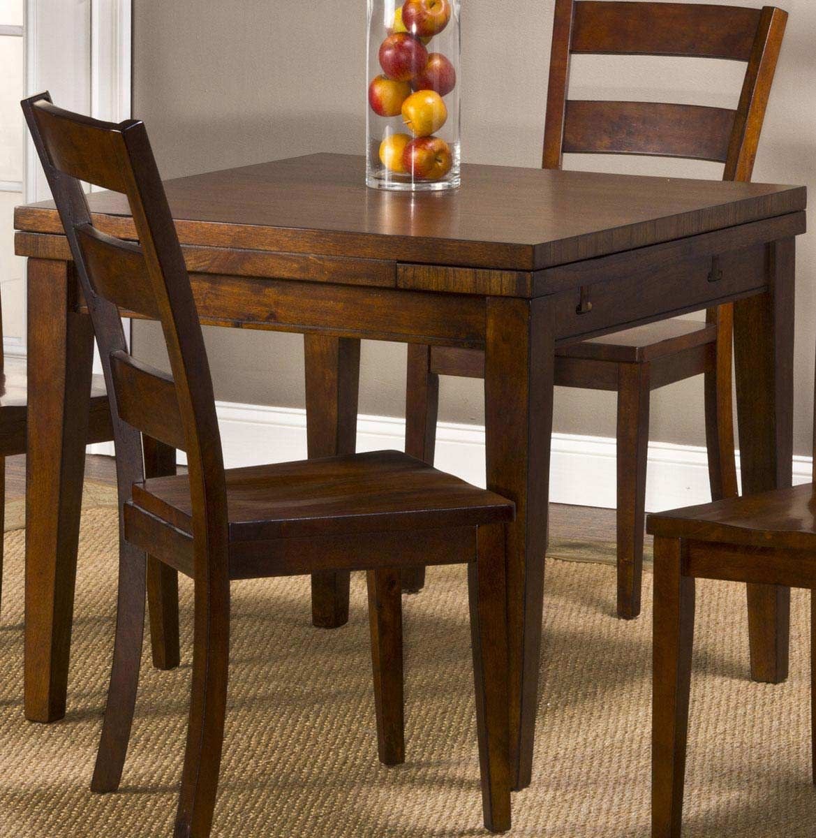Hillsdale Furniture Harrods Creek Square Gathering Dining Table With Drop Leaf Medium Brown Oak Finish