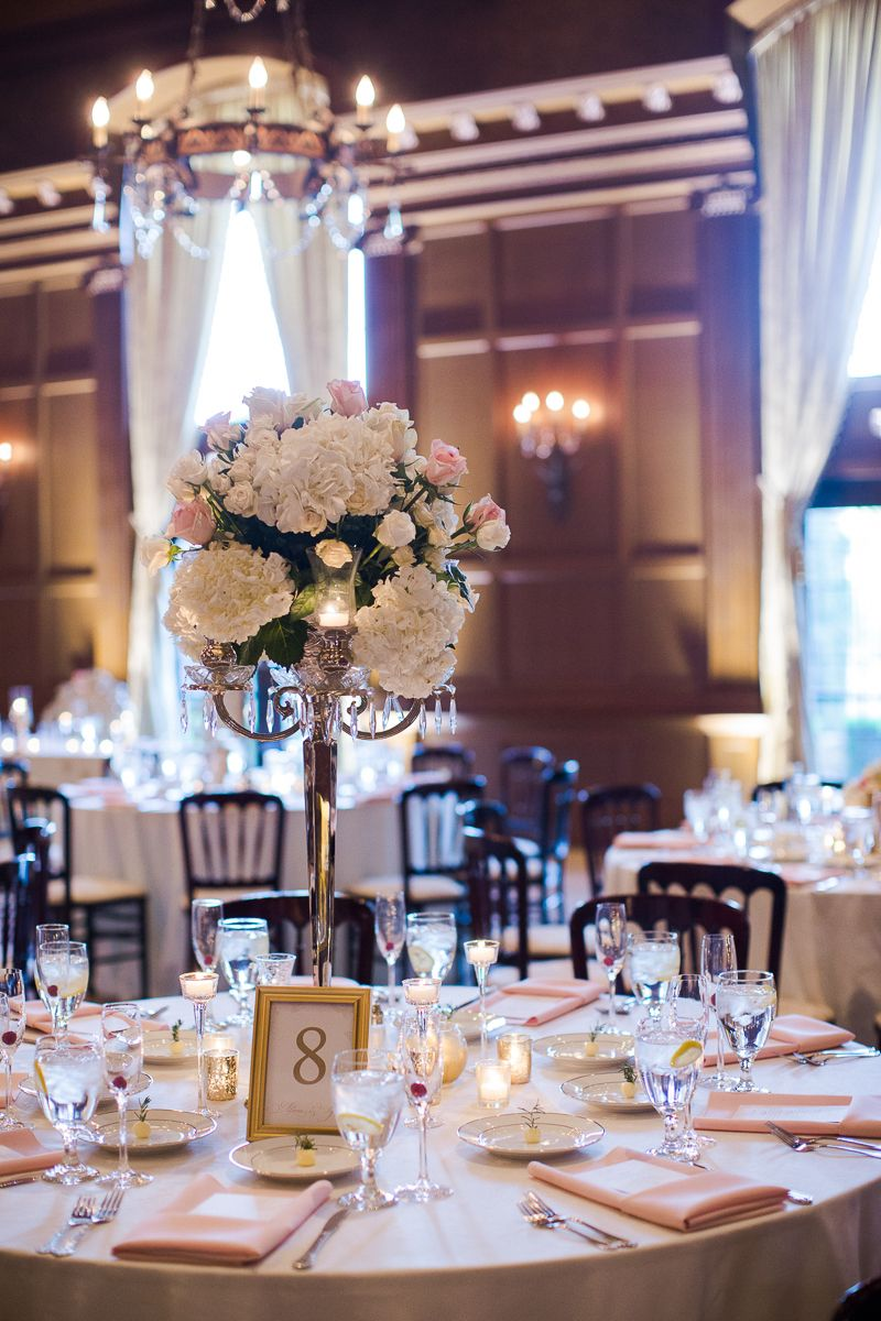 Wedding Table Luxury Wedding Table Decorations silver candelabra centerpiece with pink and white roses hydrangea villasiena cc