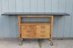 Mid Century Danish Modern heritage bar cart fold out side Risom vintage style