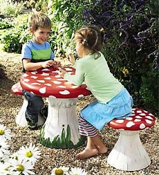 Miniature Gnome Village FAIRY GARDEN Tic-Tac-Toe Table And Chairs Set NEW