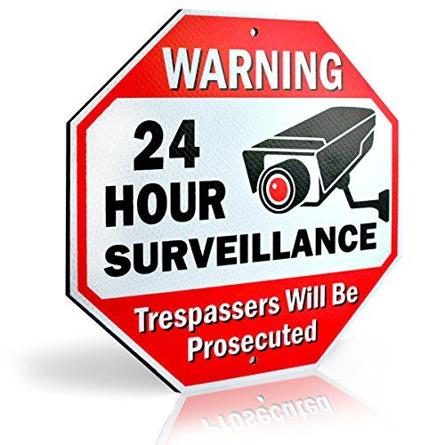 Yard Signs - Diamond ULTRA REFLECTIVE Warning 24 Hour Surveillance No Trespassing Metal Sign  with for home business Video Security CCTV Camera  12L x 12H Aluminum 12x12 Reflective -- You can get more details by clicking on the image. (This is an Amazon affiliate link)