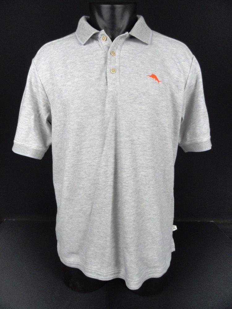 5b6035c1 Tommy Bahama Emfielder Polo Shirt Light Gray Supima Cotton Sailfish Logo  Men's M #TommyBahama #PoloRugby