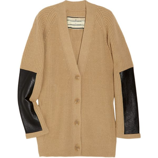 Malene Birger Igano leather-paneled wool-blend cardigan