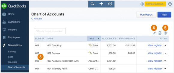 how to delete chart of accounts in quickbooks online