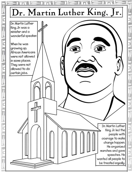 A collection of activities for Martin Luther King Jr Day color