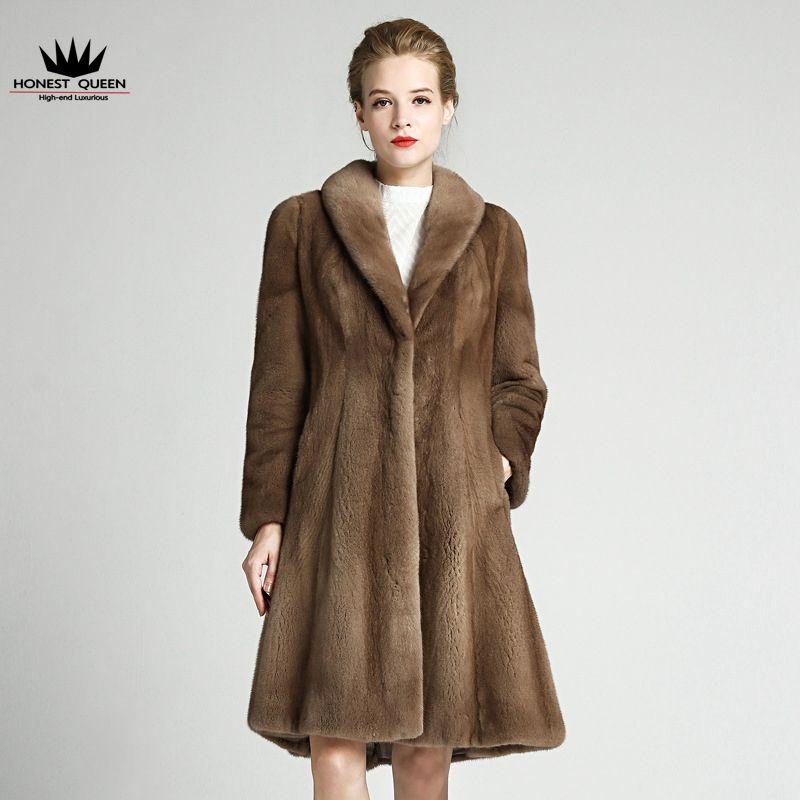 100% Pascal Ms. V-neck mink coat high-end fashion beautiful long ...