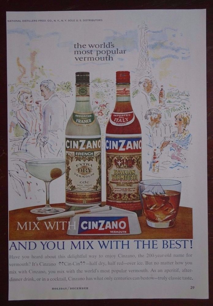 Vintage Cinzano Vermouth Italian France Alcohol Advertisement Print Ad