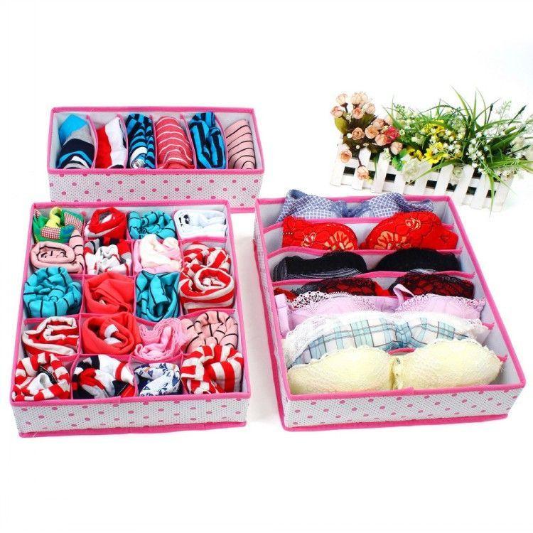 1Set Collapsible Storage Boxes For Bra Underwear Folding Closet Organizer Drawer Divider Container