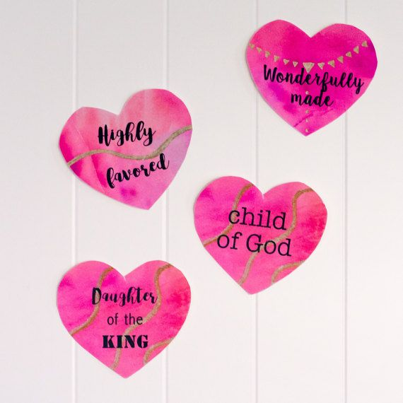 Christian Affirmations for Kids  Valentine Hearts. Download and print out to hang on your child's door!