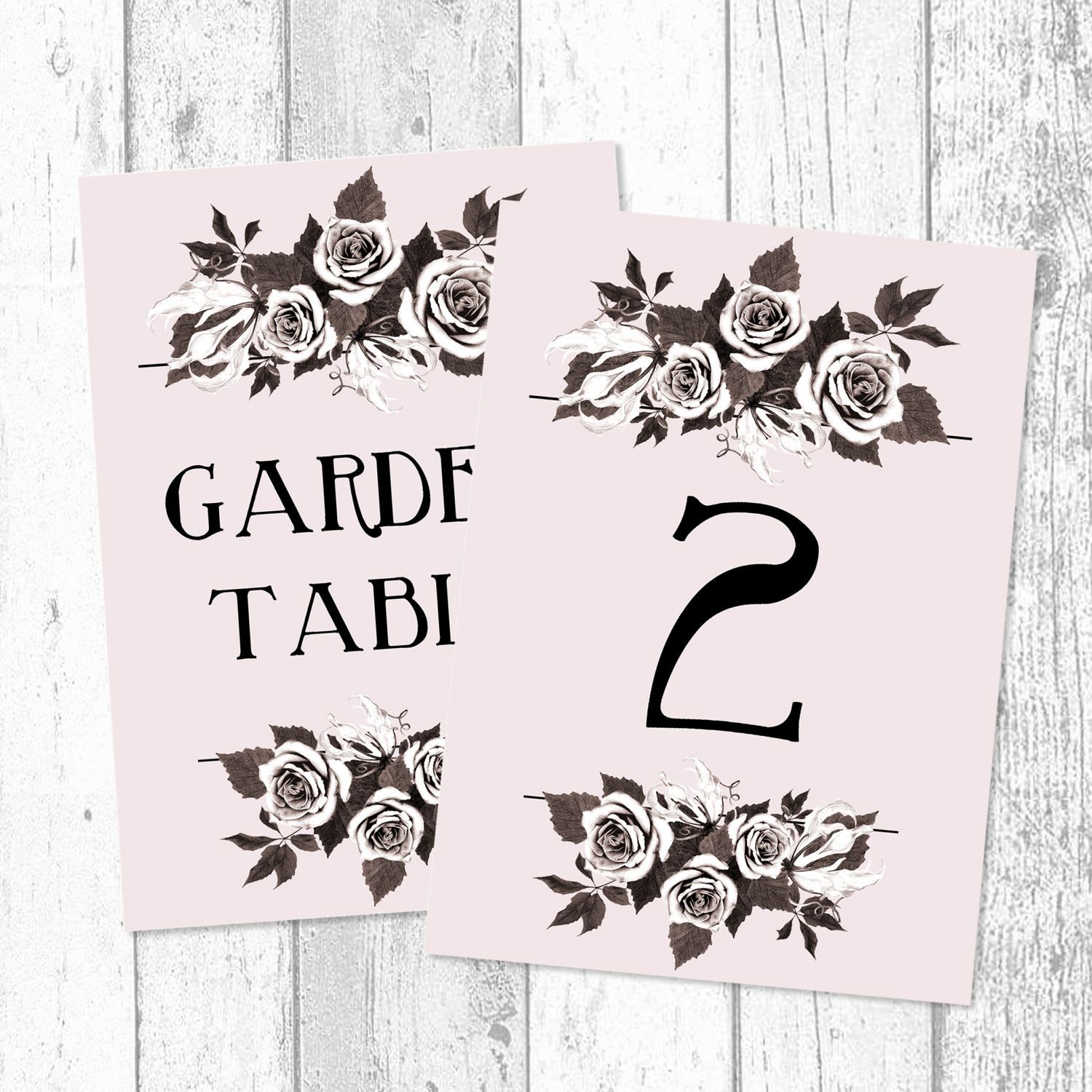 Blush bouquet customised wedding table names and table numbers