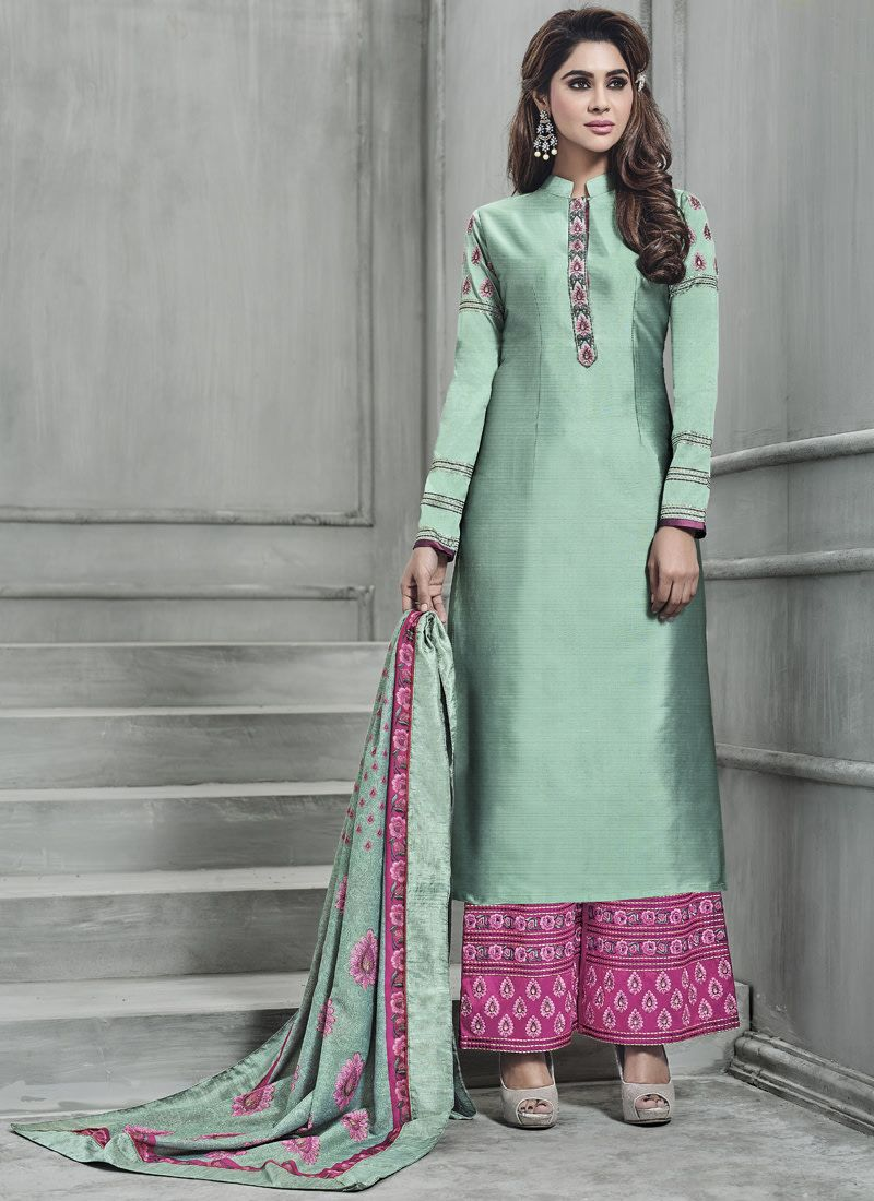 1314600718 Buy Craftsvilla Green Color Silk Embroidered Semi-stitched Straight Suit  online. ✯ 100% authentic products, ✯ Hand curated, ✯ Timely delivery, ...