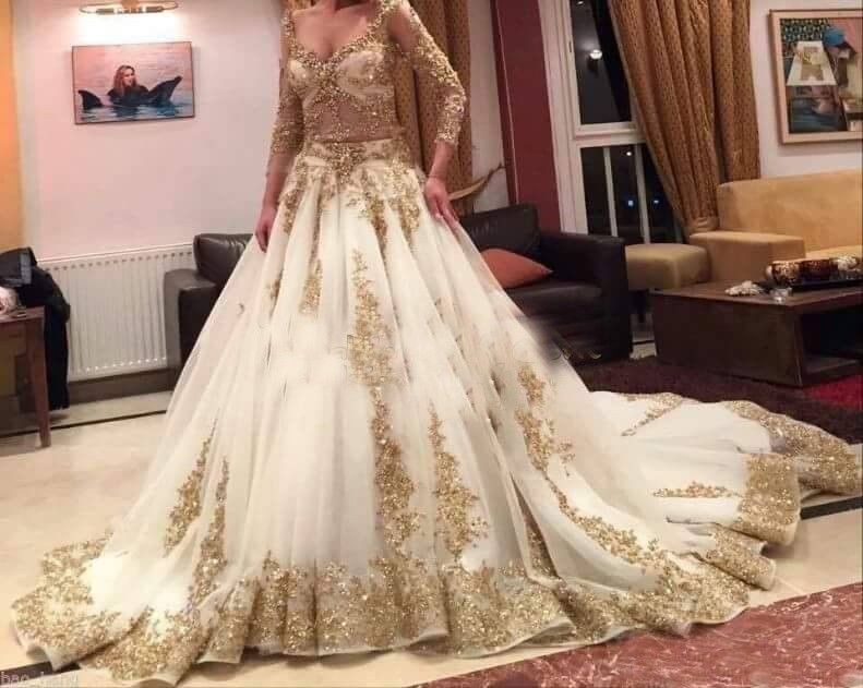 d642be3c5aeb Pakistanki White Lehenga With Golden Work