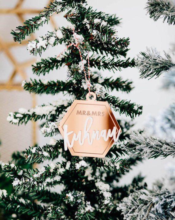Custom Christmas Gifts.Chic Geometric Mr Mrs Personalized Christmas Ornament