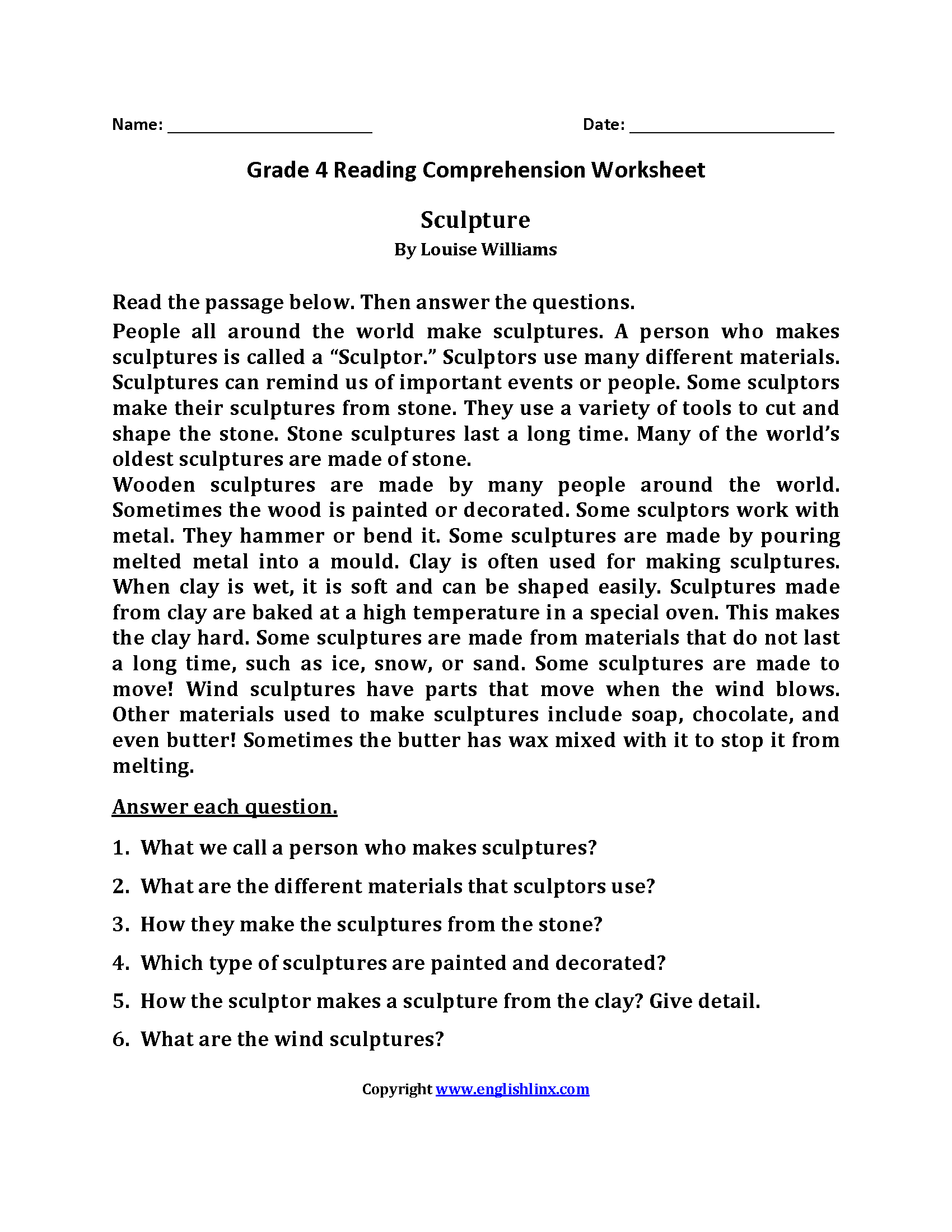 Sculpture Fourth Grade Reading Worksheets