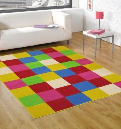 Multi Coloured Red Orange Pink Green Blue Contemporary Design - Stunning Childrens Modern Kids Floor Rug - AVAILABLE IN 3 SIZES, 120 x 160cm...
