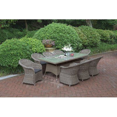 jb patio 9 piece dining set with cushions color light brown rh pinterest com